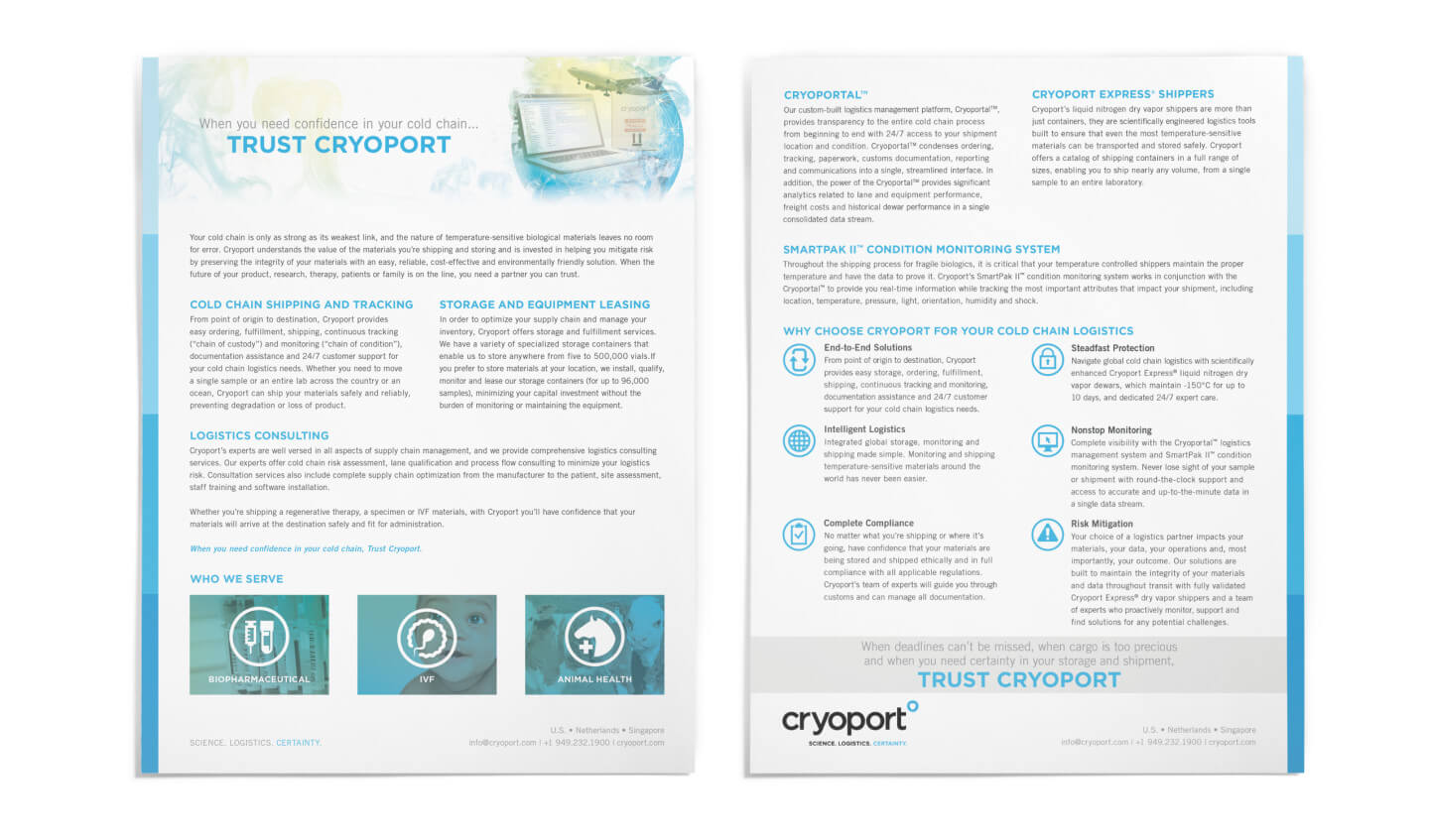 Cryoport Insert Sheet