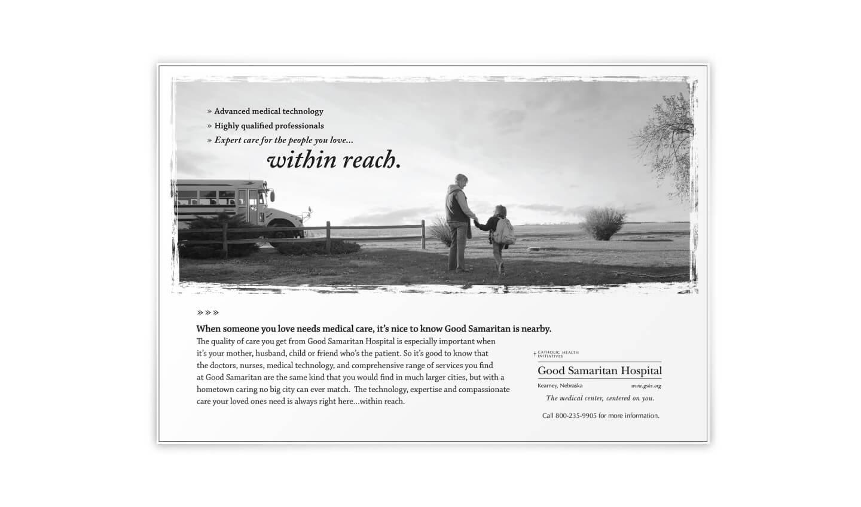 Good Samaritan black and white print ad