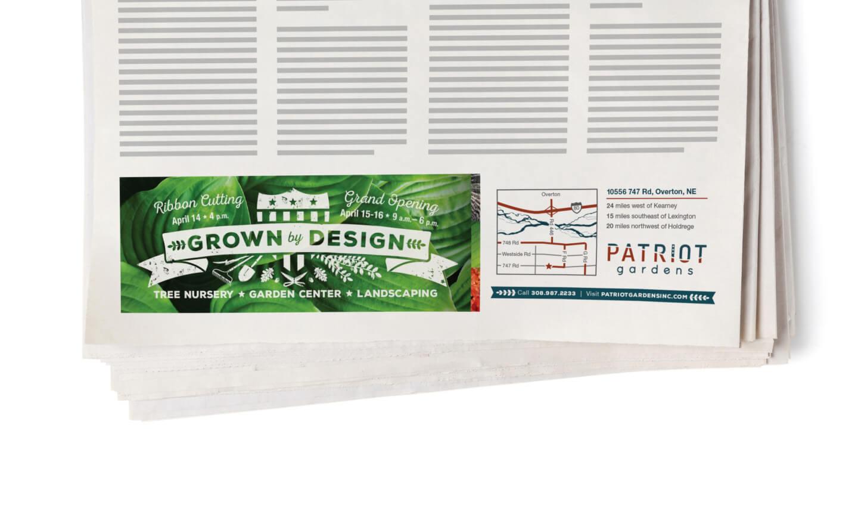 Patriot Gardens print ad