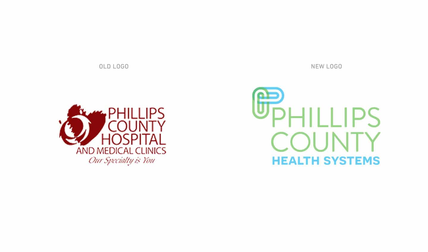 Phillips County Health Systems old versus new logo
