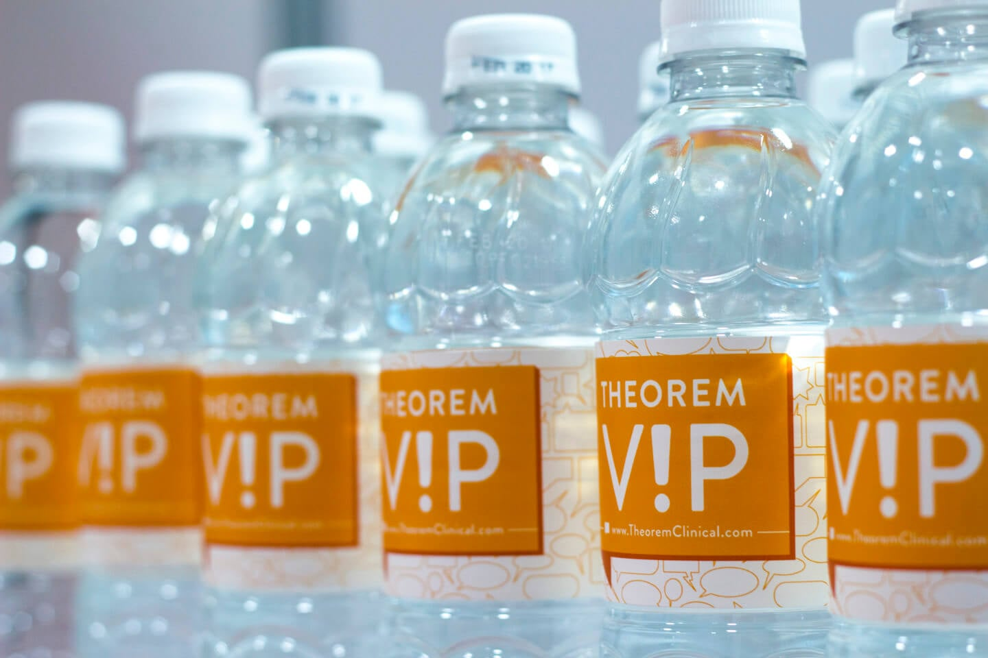 Theorem V!P water bottle labels